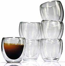 LVKH Espresso-Glas 6er Set - Thermo Gläser (80ml)