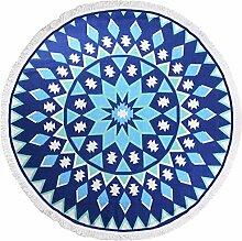 LvRao Strandtücher Baumwolle Tapisserie Boho Hippie Strandmatte Rund Tapestry Blau