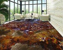 LWCX 3D-Vinyl Bodenbelag Wasserdicht Wallpaper Für Badezimmer Stein Fällt Pvc Bodenfliesen Selbstklebend Tapeten Angepasst 308X250CM