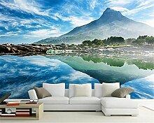LWCX Alpine Lake Blue Sky Wandbild 3D Wallpaper Sofa Hintergrundbild Home Decoration 350X230CM