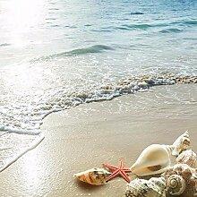LWCX Bodenbelag Badezimmer 3D Wandbild Hd Ocean Beach Shell Starfish Wasserdicht Verdickte Selbstklebend 3D Wallpaper 280X200CM