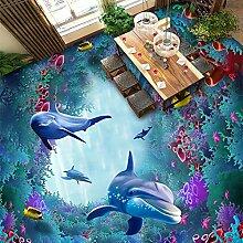 LWCX Custom 3D Wallpaper Marine World Algen Coral Dolphin Murals Kinder Schlafzimmer Wohnzimmer Pvc Bodenbelag 3D Mural250X175CM