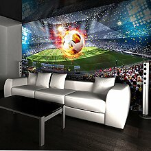 LWCX Foto-Tapete 3D Stereo Fußball Feld Mural