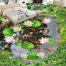 LWCX Foto Wallpaper 3D Lotus Teich Bodenfliesen