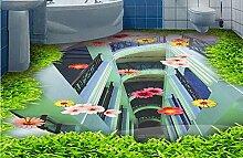 LWCX Maßgeschneiderte 3D-Bodenbeläge Tapeten Grünland Glas Vinyl Bodenbelag Badezimmer Wohnzimmer Selbstklebende Tapete 280X200CM