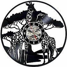 LWVE Schallplatte Wanduhren, 3D Cartoon Giraffe