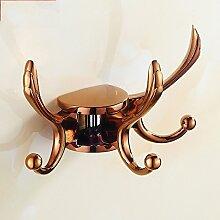 LX.AAH Die Schlafzimmer Haken Kleiderbügel Wandhalterung Non-Floor Kleiderhaken Continental Portable Rotation Kreativ, Rose Gold