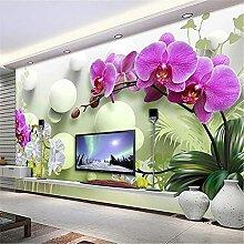 LXiFound Fototapete 3D Effekt -Blume Pflanze Kugel