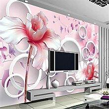 LXiFound Fototapete 3D Effekt -Blume Pflanze Rosa