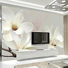 LXiFound Fototapete 3D Effekt -Blume Pflanze weiß