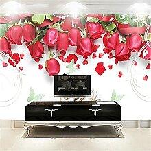 LXiFound Fototapete 3D Effekt -Blume Rose Pflanze