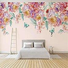 LXiFound Fototapete 3D Effekt -Blume Schmetterling