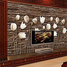 LXiFound Fototapete 3D Effekt -Blume Tulpe Braun