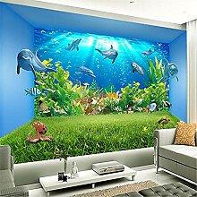 LXiFound Fototapete 3D Effekt -Delphin Meeresboden
