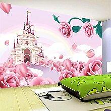 LXiFound Fototapete 3D Effekt -Gebäude rosa Blume