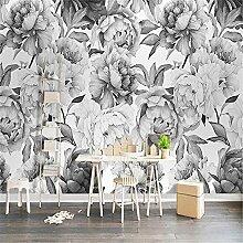 LXiFound Fototapete 3D Effekt -Grau Blume Pflanze
