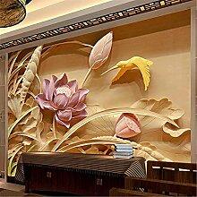 LXiFound Fototapete 3D Effekt -Lotus Vogel Pflanze