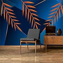LXiFound Fototapete 3D Effekt -Pflanze blau modern