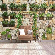 LXiFound Fototapete 3D Effekt -Pflanze Stein