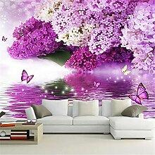 LXiFound Fototapete 3D Effekt -Schmetterling Blume