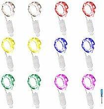 lxings 12PCS Starry Lichterkette 6,5ft 20LED Draht silber batteriebetrieben Lichterkette Licht für Halloween Party Weihnachten Hochzeit Party Deko Dekoration (6Farben)