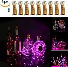 Lxings Mini-Lichterkette mit Batteriefach in Flaschenkorken-Form, silberfarbenes Kabel, für Flaschen, Hochzeit und Weihnachten, 46 cm, 9Stück 9PCS-Pink