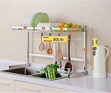 LXLA- Einlagiges Küchenregal mit Haken-Sink-Abfluss-Gestell liefert Teller-hackendes Brett-Gemüsefrucht-Lagerregal 304 Edelstahl 83 × 49cm ( Farbe : Style 1 )