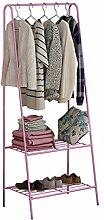 LXLA- Eisen-Kleiderständer-Kleiderbügel-Mode-einfacher kreativer Kleiderständer-Schlafzimmer-Zahnstangen ( Farbe : Pink )