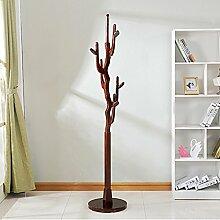 LXLA- Holz Kleiderständer Auspicious Baum Kleidung Regal Standing Kleidung Schiene Baum Kleiderbügel Weiß Braun Rot Bernstein Yellow195 * 40 * 40 Cm ( Farbe : Redwood color )