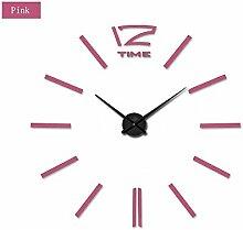 Lxlnxd 3D Home Decor Quarz Diy 20 Zoll Große Wanduhr Uhren Horloge Watch Wohnzimmer Metall Acryl Spiegel, Pink, 47 Zoll