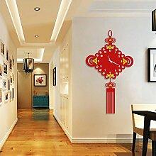Lxlnxd China Knoten Clock Mute Schlafzimmer Dekoration Acryl, 18 Zoll