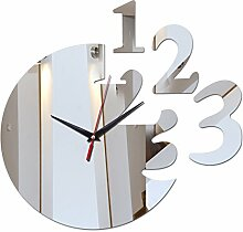 Lxlnxd Home Dekoration Acryl Spiegel Wanduhr Sicher Modernes Design Große Digitaluhr Aufkleber