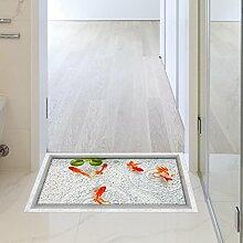 LXPAGTZ 3D Bad gegen die Wohnzimmer Diele Küche Esszimmer Bad wasserdichte Anti-Rutsch selbst Aufklebern auf dem Boden von Goldfischen 900 * 580 mm (35,4 in * 22,8) #055
