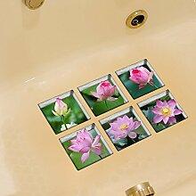 LXPAGTZ 3D kreative Bad dauerhaft schmutzabweisend Hochtemperatur einfügen Persönlichkeit Lotus Muster selbstklebende Badewanne Badezimmer wasserdichte Anti-Rutsch-Sticker Blatt Größe 130 * 130mm (5.11 * 5,11 Zoll) 6er Set #038
