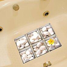 LXPAGTZ 3D kreative Bad dauerhaft schmutzabweisend Hochtemperatur einfügen Persönlichkeit Badezimmer wasserdichtes HD selbstklebende Badewanne Anti-Rutsch-Sticker Blatt Größe 130 * 130 mm (5.11 * 5,11 Zoll) 6er Set #011