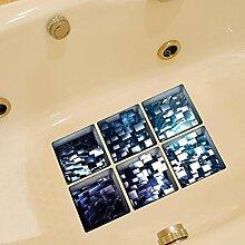 LXPAGTZ 3D kreative Bad dauerhaft schmutzabweisend Hochtemperatur einfügen Persönlichkeit Badezimmer wasserdichtes HD selbstklebende Badewanne Anti-Rutsch-Sticker Blatt Größe 130 * 130 mm (5.11 * 5,11 Zoll) 6er Set #014