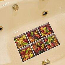 LXPAGTZ 3D kreative Bad dauerhaft schmutzabweisend Hochtemperatur einfügen Persönlichkeit Badezimmer wasserdichte rutschfeste selbst Klebstoff Badewanne Aufkleber der Blätter der Packungsbeilage Größe 130 * 130mm (5.11 * 5,11 Zoll) 6er Set #021