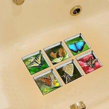 LXPAGTZ 3D kreative Bad Persönlichkeit dauerhaft schmutzabweisend Hochtemperatur einfügen Folie Badezimmer wasserdichtes Schmetterling Muster selbstklebende Badewanne Sticker Blatt Größe 130 * 130mm (5.11 * 5,11 Zoll) 6er Set #039