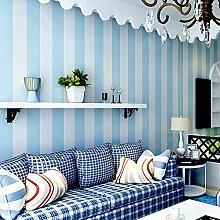 LXPAGTZ Einfache moderne Vlies-Tapete Schlafzimmer Wohnzimmer schwarzen und weißen vertikalen Streifen blau Östliches Mittelmeer Wand Tapete lange 9.5 m * Breite 0,53 m (5 m ²) , 11087 days blue