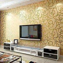 LXPAGTZ Gemütlichen europäisch anmutende Schlafzimmer Wohnzimmer TV Hintergrund Wand Vlies Tapete Tapete 3D goldene Rose lange 9.5 m * Breite 0,53 m (5 m ²)