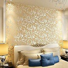 LXPAGTZ Kontinentale Goldfolie Tapete Wohnzimmer Schlafzimmer Fernsehen TV Wand PVC Projekte besonderen goldenen Hintergrundbild, lange 9.5 m * Breite 0,53 m (5 m ²) , pure wallpaper