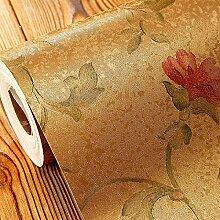 LXPAGTZ Kontinentale pastorale Tapeten Schlafzimmer Wohnzimmer Wand Blumen warm Salon Kleidung Shop PVC wasserdichte Tapete lange 9.5 m * Breite 0,53 m (5 m ²) , 8170106 retro gold