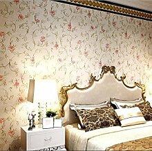 LXPAGTZ Kontinentale pastorale Tapeten Schlafzimmer Wohnzimmer Wand Blumen warm Salon Kleidung Shop PVC wasserdichte Tapete lange 9.5 m * Breite 0,53 m (5 m ²) , 8170107