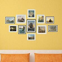 LXPAGTZ Kreative Wandbilder dekorieren Bilderrahmen bemalt grün HD Tapete Schlafzimmer Wohnzimmer Badezimmer Wand Aufkleber Hintergrundmaterial auf See Segeln Kombination Foto Frame Bild Aufkleber Wandbild Wandsticker #004
