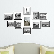 LXPAGTZ Kreative Wandbilder schmücken Foto Frame Bild Hintergrund Tapete Schlafzimmer Wohnzimmer Badezimmer Wand Aufkleber materiell Umweltschutz Europäischen Sehenswürdigkeiten, Kombination von schwarz-weiß Fotografie Bild Frame Aufkleber Wandbild Wand-Sticker #