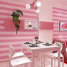 LXPAGTZ Moderne und einfache vertikale Streifen Tapete rosa Prinzessin Zimmer Schlafzimmer Kinderzimmer warm Mädchen lange 9,5m * breite 0,53m Vlies Tapete (5 m ²), tief rosa