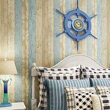 LXPAGTZ Östlichen Mittelmeer Vlies Retro blaue Tapete warme Wohnzimmer Schlafzimmer Kinderzimmer Zimmer Tapete einfach blauen und weißen Längsstreifen lange 9.5 m * Breite 0,53 m (5 m ²) , l81002 (retro mediterranean)