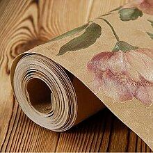 LXPAGTZ Verdickte warm pastorale Tapete Blume Mädchen rosa Prinzessin Zimmer Romantisches Schlafzimmer Wohnzimmer PVC Tapeten Blumenmuster lange 9.5 m * Breite 0,53 m (5 m ²) , 8170507 retro