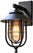 LXQIY E27 Eisen Außenlampe American Retro Schwarz