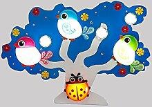 LXSEHN Blau Und Grün Kinderzimmer LED-Augenschutz Baumform Deckenleuchten Kreativ Niedlich Junge Mädchen Schlafzimmer Kindergarten Spielplatz Cartoon Vogel Insekten Deckenleuchten ( Farbe : Blau )